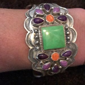 Jewelry - Native Amer. Turquoise/Spiny Oyster/sterling cuff
